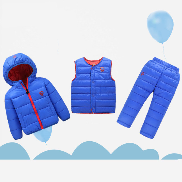 2018 Winter Warm Children Clothing Sets Baby Boys Down Jacket + Trousers Waterproof Snow For Kids Girls Clothes Suit 3PC 18-7T