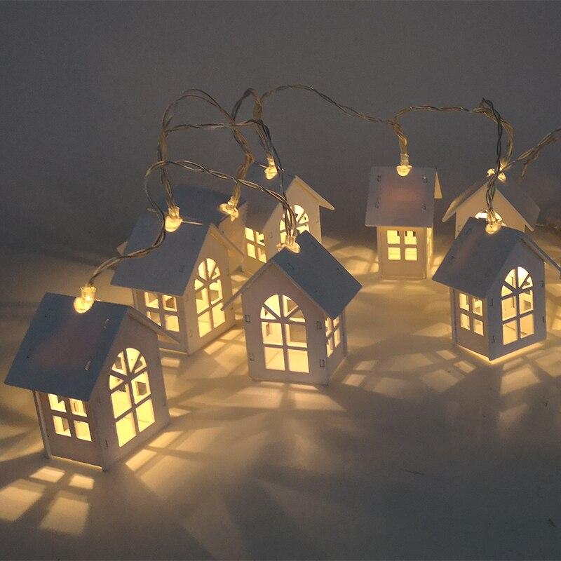 1 pc natal Fada Luz Led String Casa Sino Pinho nozes Estilo do casamento Da Árvore de Natal Do Floco De Neve decorações de natal Ano Novo para casa