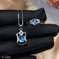 KJJEAXCMY boutique jewelry 925 sterling silver inlaid natural gemstone moonstone female ring pendant necklace set support detect