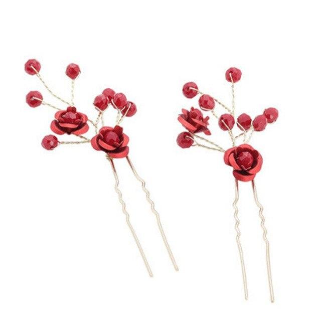 2 Pcs בעבודת יד שושבינה פרח שיער פין קליפ סיני מסורתי אדום חרוזים חתונת כלה סיכות שיער גפן נשים שיער תכשיטים