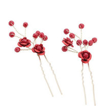 2Pcs Handmade Bridesmaid Flower Hair Pin Clip Chinese Traditional Red Beads Wedding Hairpins Bridal Hair Vine Women Hair Jewelry(China)