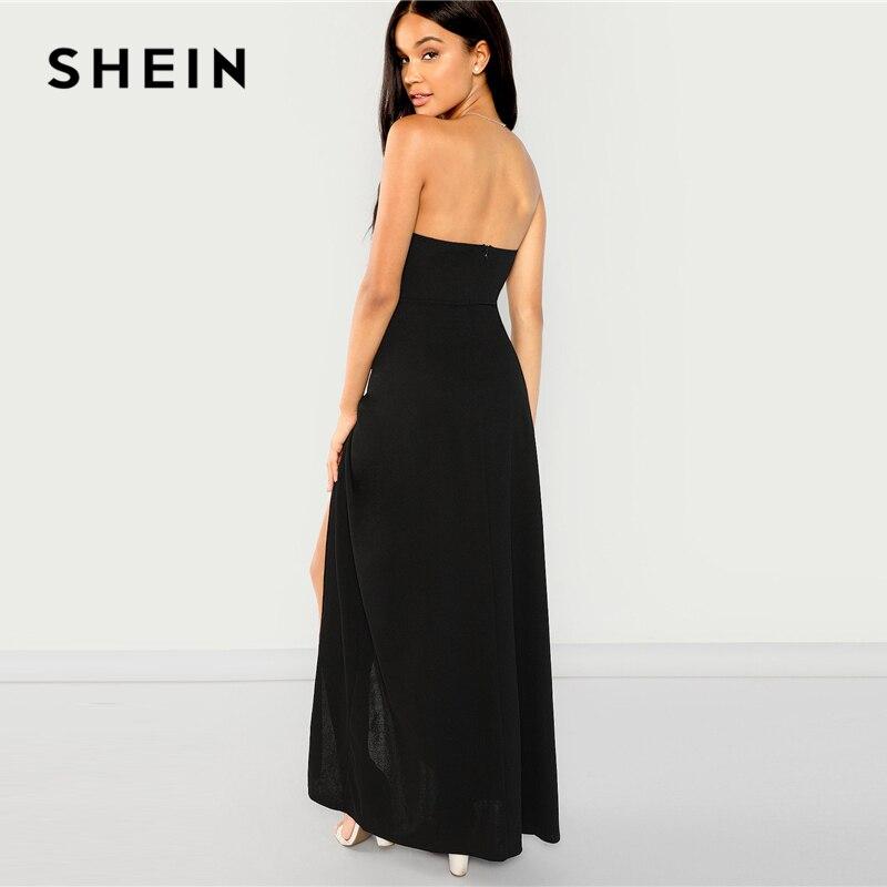 f52e5df7dc SHEIN negro Bandeau fuera del hombro Split sólido vestido de fiesta Sexy  liso Delgado Maxi vestidos mujeres otoño moderno vestido elegante de mujer  en ...