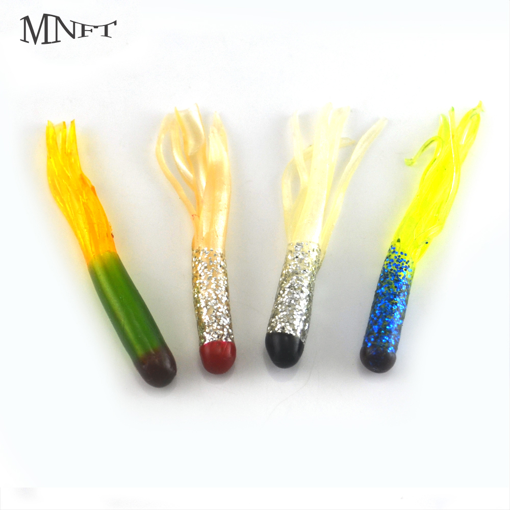 MNFT 10Pcs Artificial Worms Grub Lure Soft Squid Baits Colorful Freshwater Tube Baits 4.5cm/0.5g