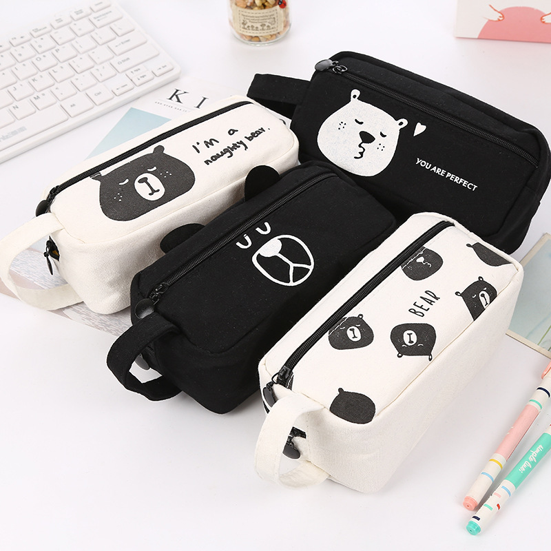 Kawaii Bear Pencil Case Cartoon Pen Bags Canvas Stationery Cute School Supplies Big Storage Pencil Box cute cat pen holders multifunctional storage wooden cosmetic storage box memo box penholder gift office organizer school supplie