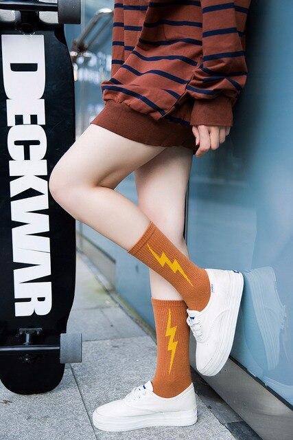 New Female socks Japanese lightning tide Socks Harajuku street Cotton socks fashion sock 3