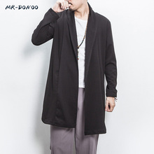 MRDONOO Autumn cardigan male long paragraph Chinese style retro loose large size Chinese style men long sleeves windbreaker cheap Trench Solid Conventional REGULAR Embroidery A032-FY01 Broadcloth MR-DONOO STANDARD NONE V-Neck Full Open Stitch Polyester