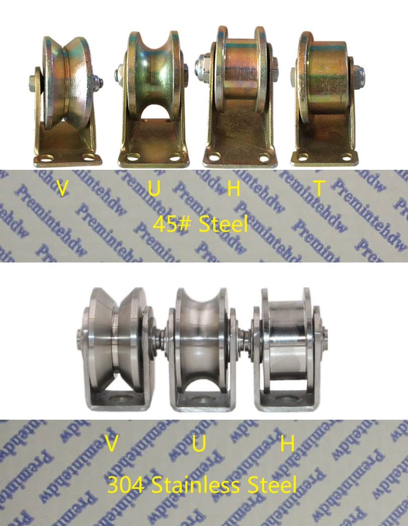 2Pcs/Lot 45# Steel 304 Stainless Steel V U H T Ball Bearing Rigid Rolling Wheel Track Rail Industrial Roller Caster