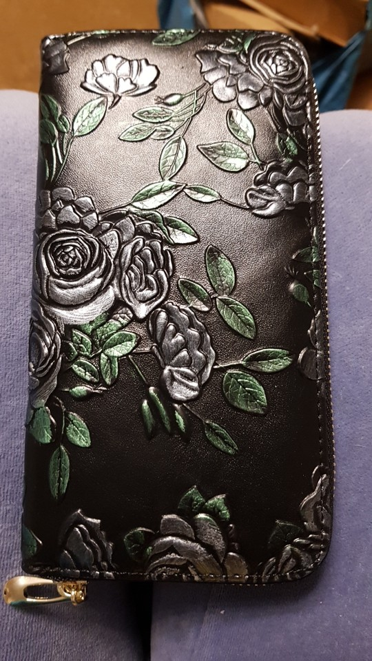Women Long Wallet Genuine Leather 3D Embossing Rose Dragonfly Butterfly Lady Clutch Bag Large Capability Female Zipper Purse photo review
