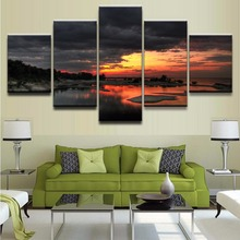 Canvas Print Picture Wall Art 5 Piece Cloud Ice Lake Landscape Orange Sky Snow Sunset Winter Painting For Living Room Home Decor