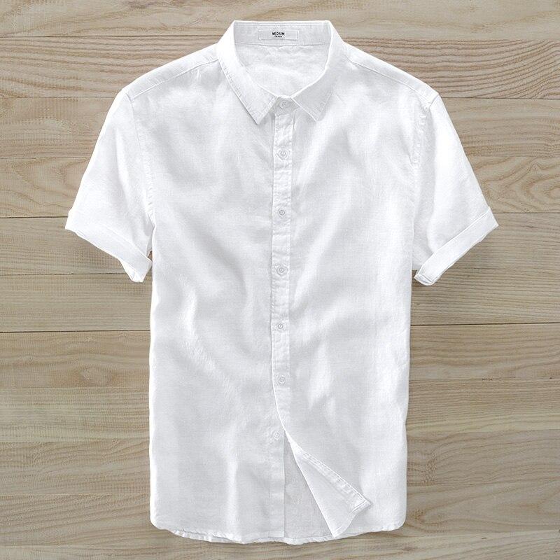 Льняная рубашка мужской летние футболки с коротким рукавом мужской хан издание воспитать в себе тип нравственности прилив чистый цвет конт...