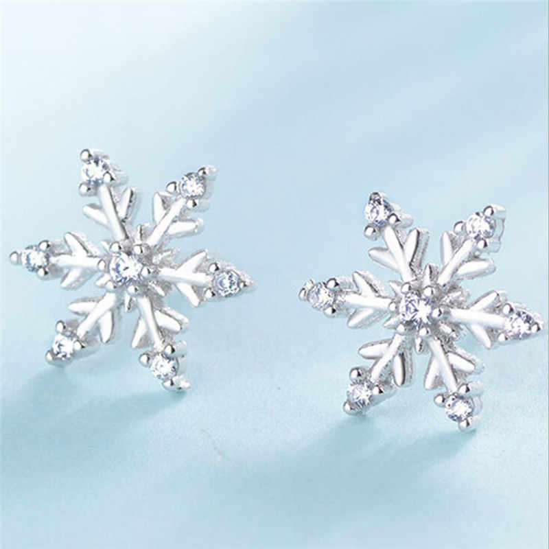 New Fashion Crystal Earring New  Earring Cute Snowflake Earrings For Women Jewelry Christmas Gift