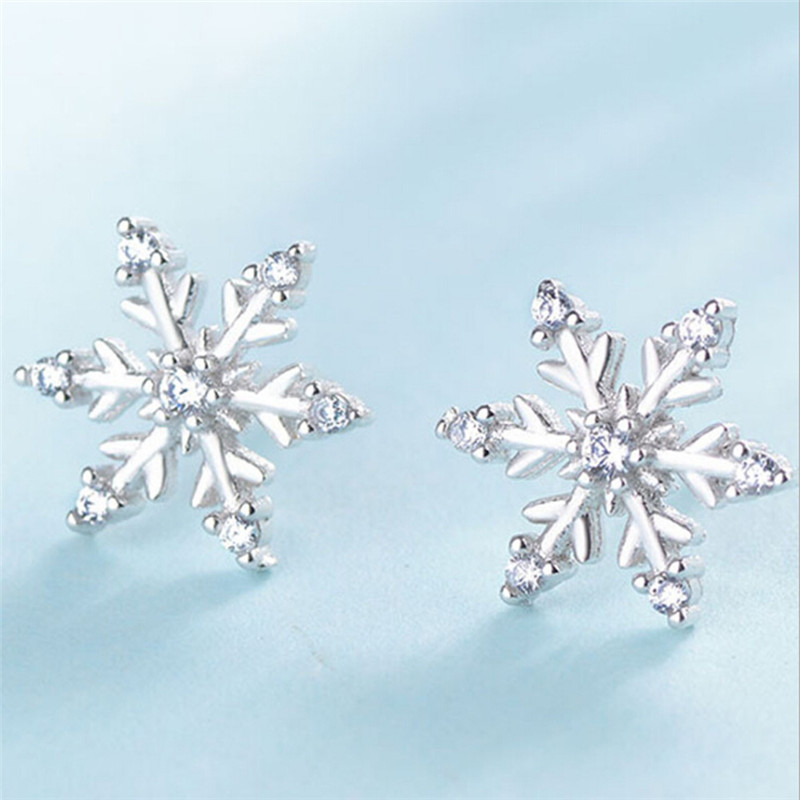 Us 0 56 30 Off New Fashion Crystal Earring Cute Snowflake Earrings For Women Jewelry Christmas Gift In Stud From