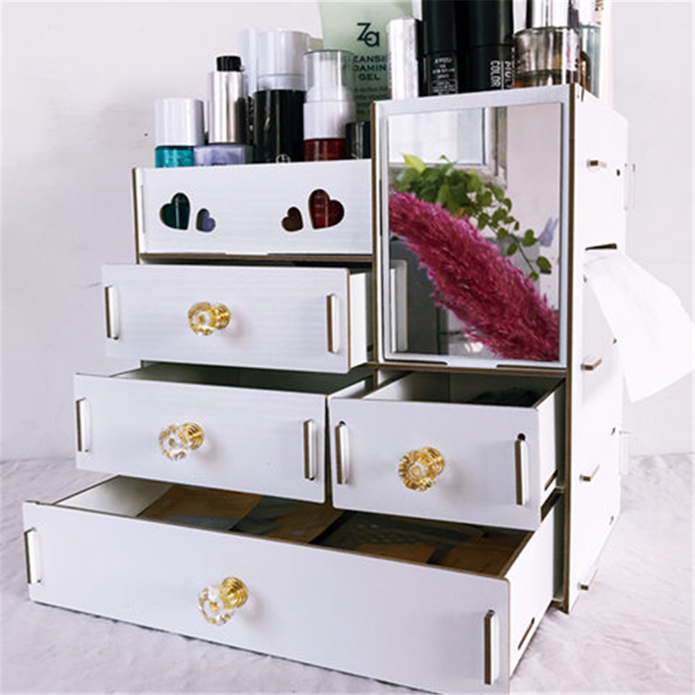 Large Wooden Makeup Organizer Desktop Drawer Cosmetic Storage Box With Mirror Makeup Mirror For Girls Woman Flower Heart Shape