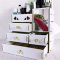 Large Wooden Makeup Organizer Desktop Drawer Cosmetic Storage Box with Mirror Makeup Mirror for Girls Woman Flower Heart Shape|Makeup Organizers| |  -