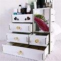 Organizador grande de maquillaje de madera, cajón de escritorio, caja de almacenamiento de cosméticos con espejo, espejo de maquillaje para niñas, mujer, forma de flor y corazón