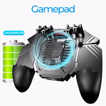 AK77 Cooling Fan PUBG Game Controller Gamepad Six Finger Trigger Shooting Joystick Gamepad For IOS Android Mobile Phone 1200 mAh