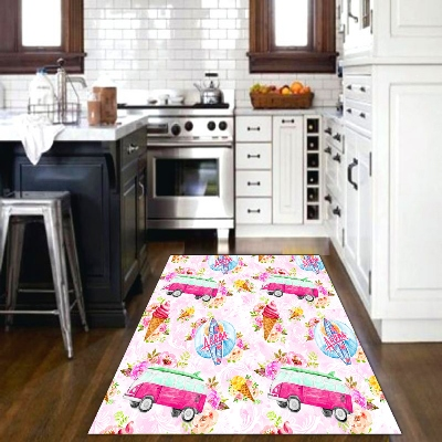 Else Pink Bus Ice Cream Sweets Candy Bus Summer 3d Print Non Slip Microfiber Kitchen Modern Decorative Washable Area Rug Mat