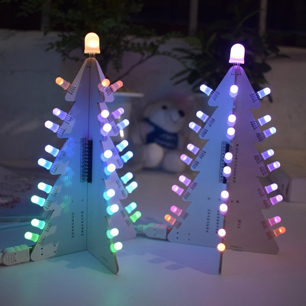 New DIY Light Control Full Color LED Big Size Christmas Tree Tower Kit LED Decoration With 14 Lighting Modes Electronic Learning