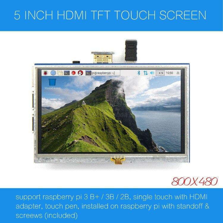 Raspberry Pi 5 inch 800 x 480 HDMI TFT LCD Touch Screen, 5