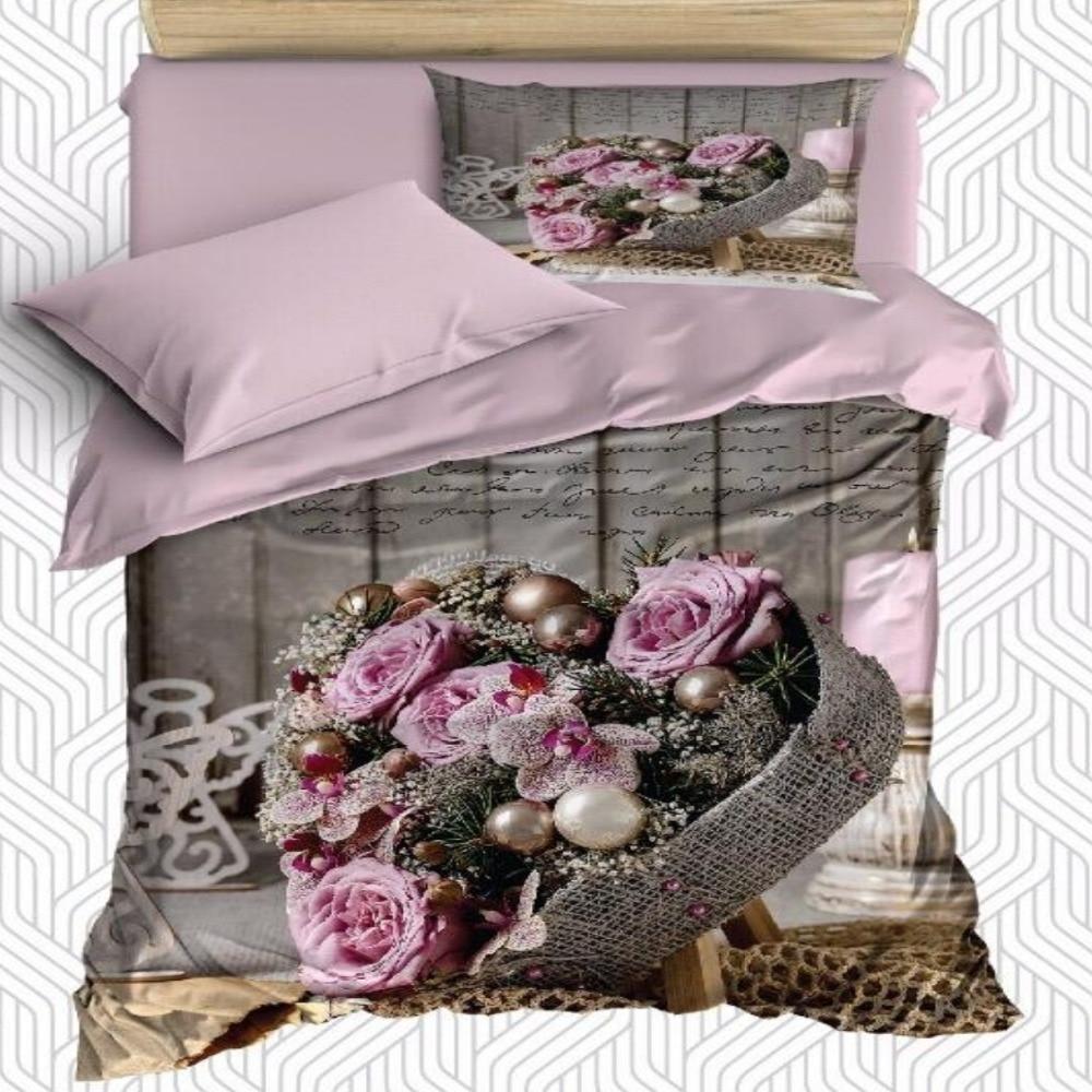Other 4 pièces marron en bois rose Roses sur bois panier 3D impression coton Satin unique housse de couette ensemble de literie taie d'oreiller drap de lit