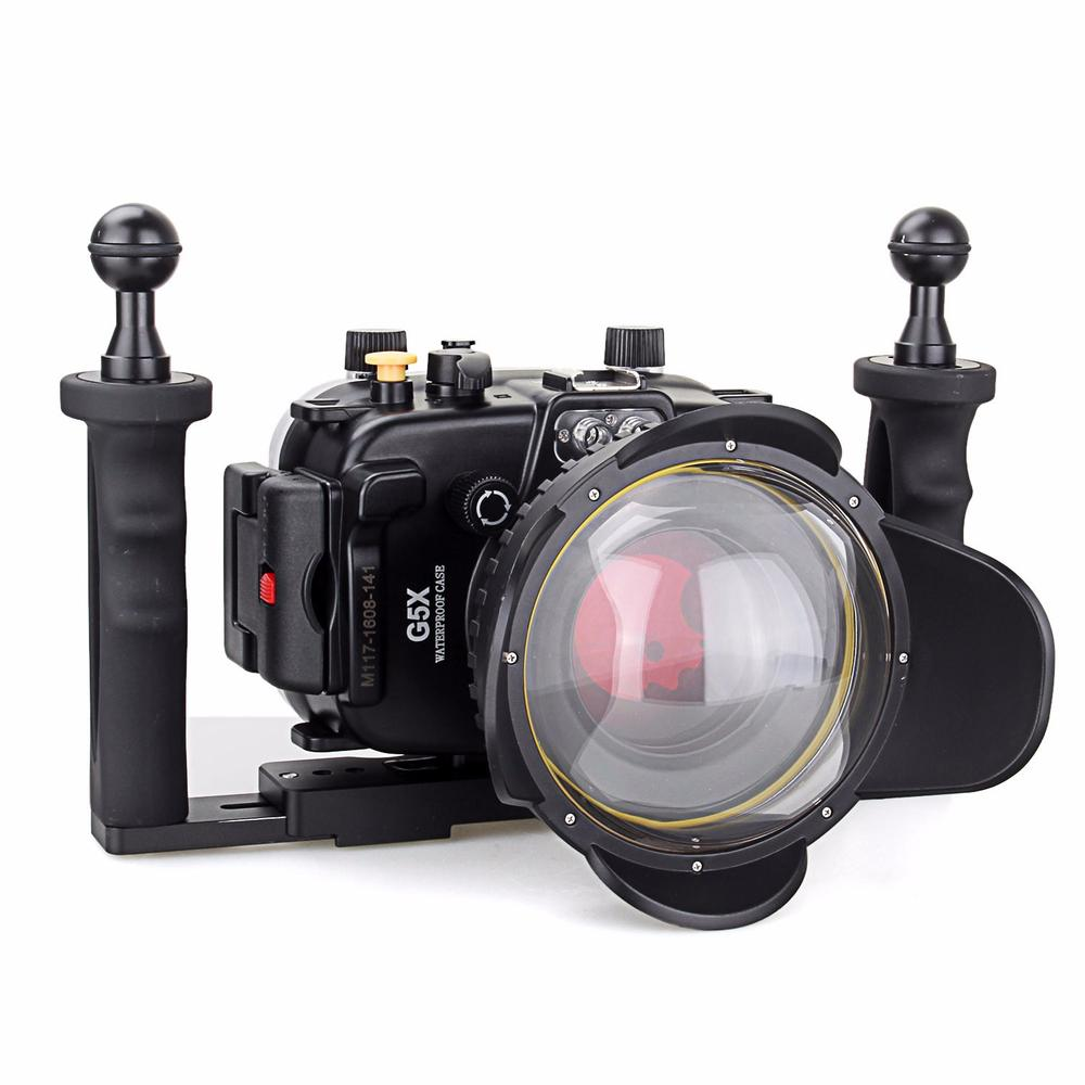 40m/130ft Underwater Diving Camera Housing Case for Canon G5X + 67mm Fisheye Lens + Two Hands Aluminium Tray + 67mm Red Filter 40m 130ft waterproof diving underwater dslr camera housing case for canon g9x