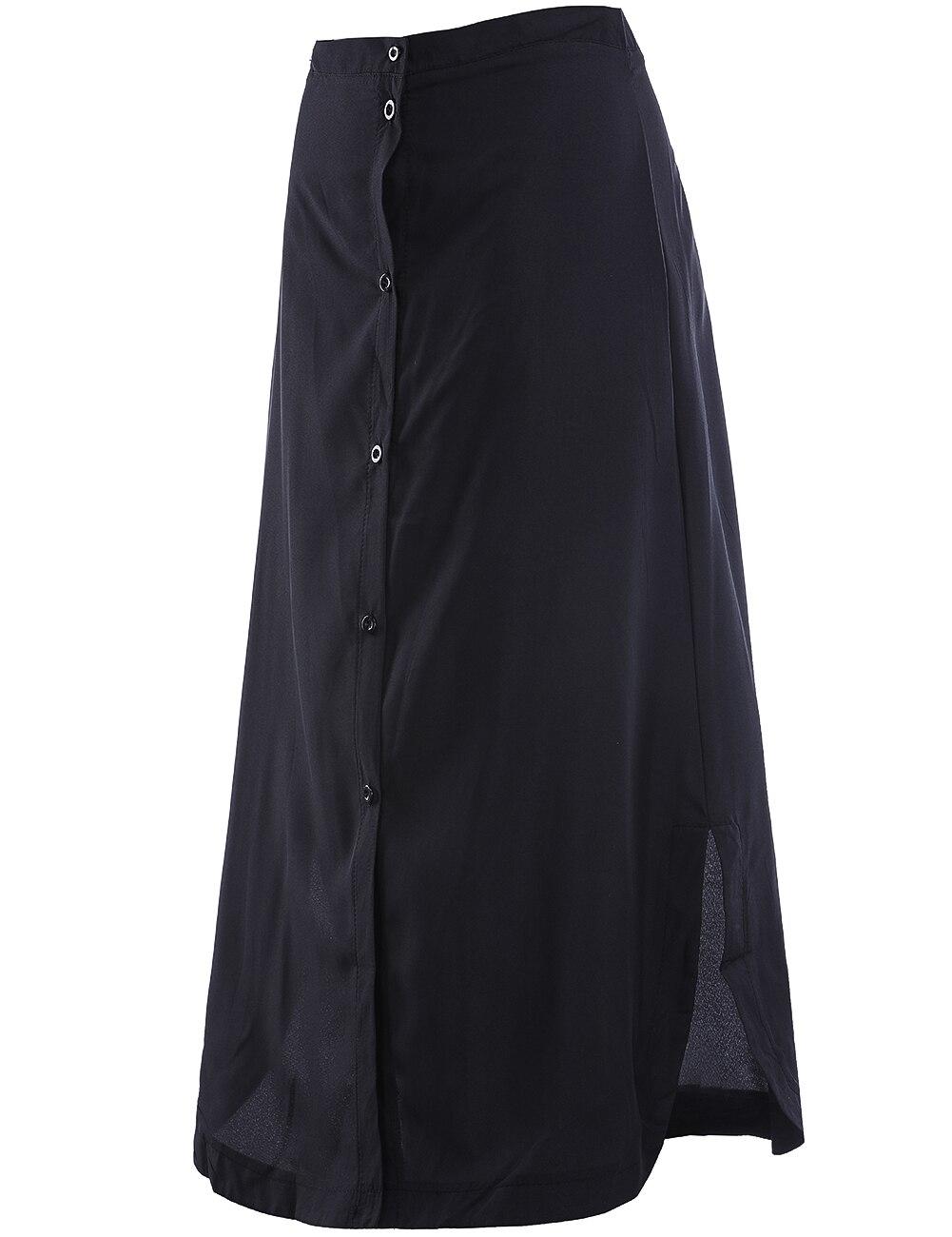Женский, черный Разделение Макси Юбки для женщин Новое поступление 2018 г. пикантные Летний стиль Для женщин S Повседневное длинная юбка насто...