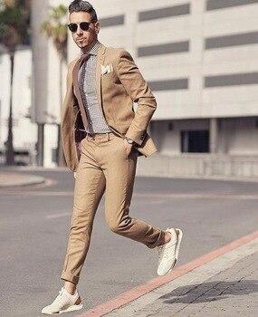96ee467cd50b6 2018 Yeni Varış Tasarım Haki Kahverengi Plaj Erkekler Suit Slim Fit 2 Adet  Smokin Takım Elbise Balo Özel Damat Blazer Masculino ceket + Pantolon