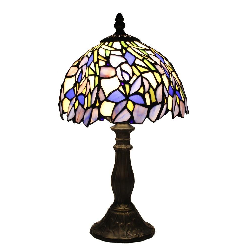 Stained Glass Iris Table Lamp Bedroom Desk Light Art Decor Lighting Fixture