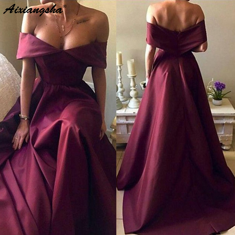Sexy Prom Gowns Party Off-the-shoulder vestidos elegantes Satin Formal Dress A-line Burgundy Evening Dresses Long