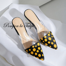 QY 920024 stylish ploka dot & PVC sandals with horse hair surface and pig skin insole comfy pumps strange style heel
