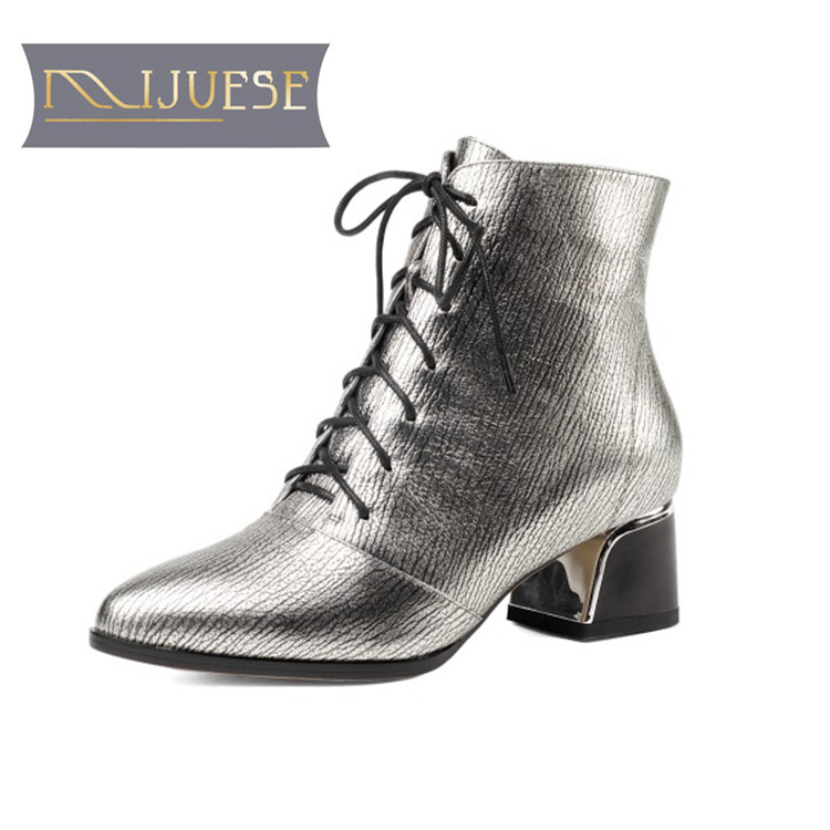 MLJUESE 2019 women ankle boots cow leather silver color lace up pointed toe winter warm fur