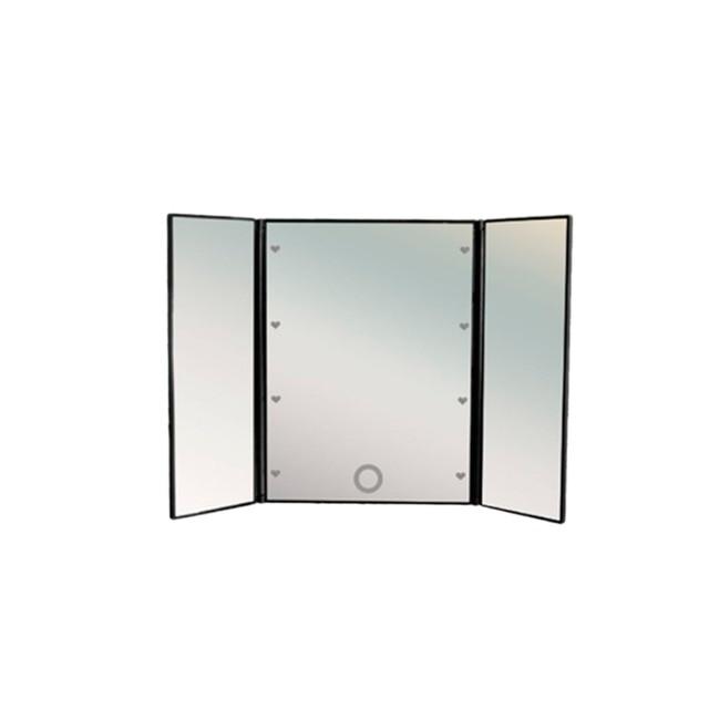 Зеркало для макияжа, зеркало с подсветкой, складное трехстворчатое косметическое зеркало uLike Porto для макияжа с подсветкой, 8 LED ламп, GESS