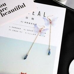 2017 빈티지 수제 미묘한 나비 긴 귀걸이 합금 웨이퍼 석 Pendientes Earings 패션 보석 Brinco