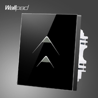 Smart Walls Wallpad 110 250V 2 Gang 2 Way Luxury Black Glass Touch Light Switch Plate Hotel Energy Saving Switch,Free Shipping