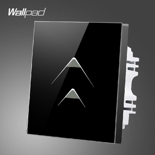 Smart Walls Wallpad 110 250V 2 Gang 2 Way Luxury Black Glass Touch Light Switch Plate Hotel Energy Saving Switch,Free Shipping