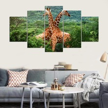 HD Prints Canvas Wall Art Poster Living Room Decor Pictures 5 Piece Landscape Giraffes Printed Animal Painting Framework