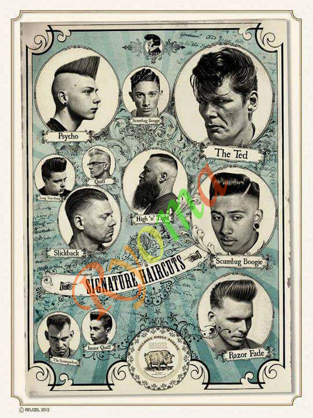Vintage Hairdresser Tattoos Patterned Posters Kraft paper Interior Painting Restoring Wall Sticker Barber Shop Decoration b