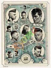 Vintage Hairdresser Tattoos Patterned Posters Kraft paper Interior Painting Restoring Wall Sticker Barber Shop Decoration b