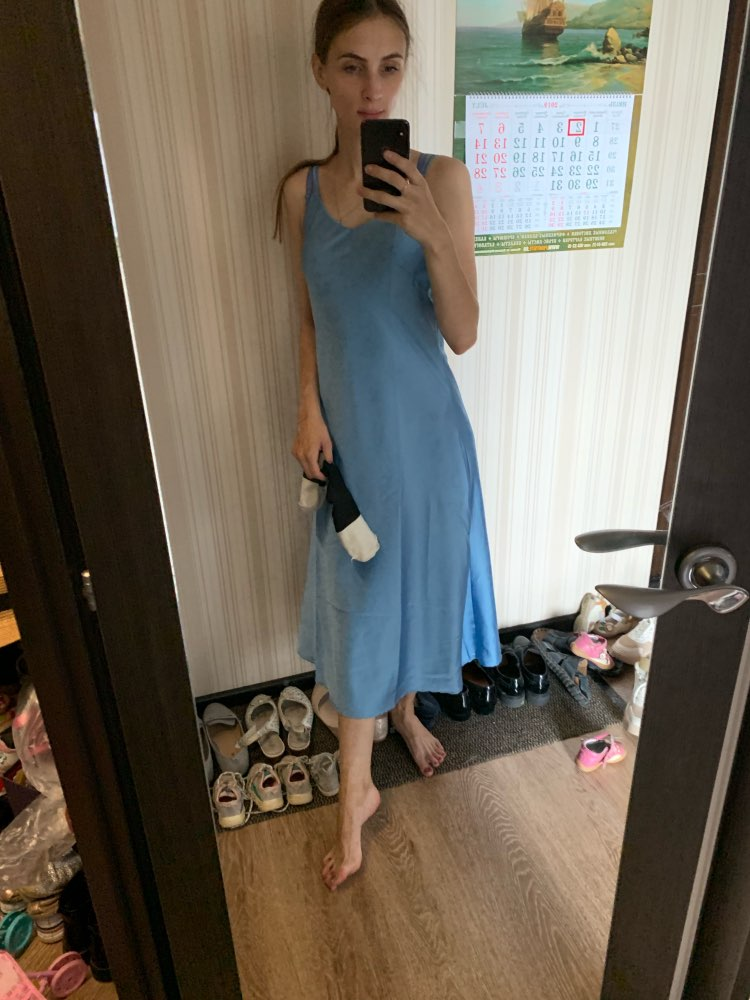 Summer Women Backless Sexy Ice Silk Smooth  Strap  Casual Solid Color Sleeveless Beach  Party  Club Dress photo review