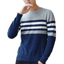Fashion Men Round Collar Stripe Sweater Slim Fit Knitting Pullover Sweater