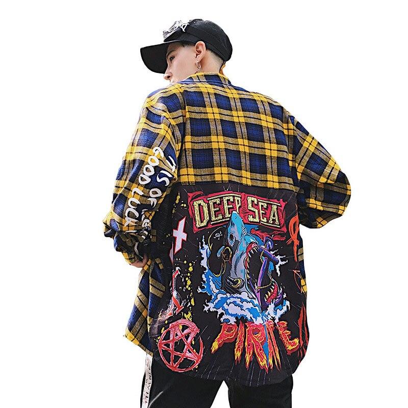 Ligne de cintrage Hip hop Chemise à carreaux hommes haute rue mode Swag vêtements lâche Hipster à manches longues lettre anglaise Chemise