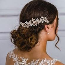 Свадебные расчески для волос розового и золотого цвета для невесты, стразы, жемчуг, женские шпильки, свадебный головной убор, украшения для волос, аксессуары