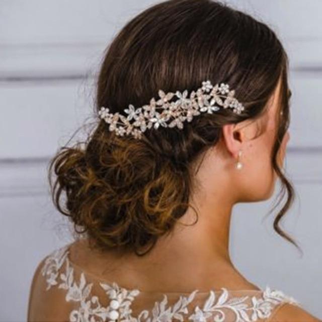 עלה זהב צבע חתונת שיער קומבס קריסטל Rhinestones פניני נשים סיכות כלה כיסוי ראש שיער תכשיטי אבזרים