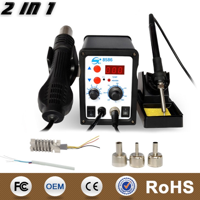 YG8586 digital smd rework station ESD soldering station hot air 2 in 1 mobile phone repair tools ppd 120e l soldering station down the forapple mobile phone motherboard chip a10 a9 a8cpu intelligent desoldering tools