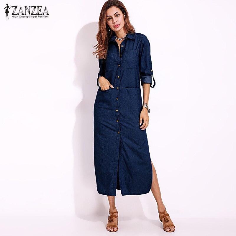 S-5XL ZANZEA Women Casual Long Sleeve Buttons Down Shirt Dress 2018 New Spring Cotton Linen Denim Blue Loose Split Work Vestido