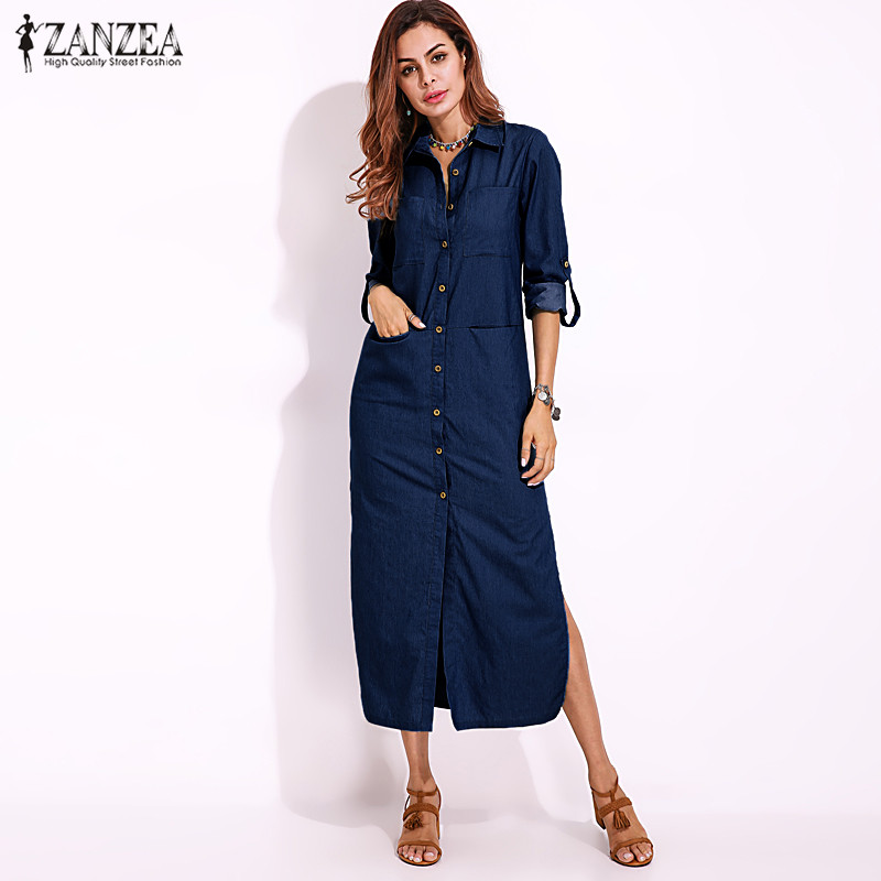 S-5XL ZANZEA Women Casual Long Sleeve Buttons Down Shirt Dress 2018 New Spring Cotton Linen Denim Blue Loose Split Work Vestido