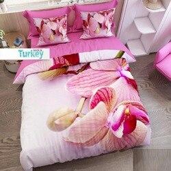 Innego 6 sztuka różowy krem kwiatowy duży kwiaty natura 3D druku bawełna satynowa podwójna poszewka na kołdrę zestaw poszewka na poduszkę łóżko arkusz w Kołdra od Dom i ogród na
