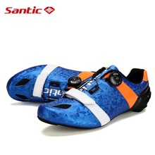 Santic Road Cycling Shoes Ultralight Carbon Fiber Road Bike Shoes Mens PRO Racing Team Self-lokcing Athletic Bicycle Shoes