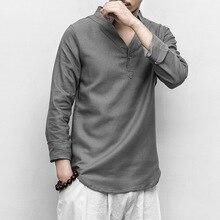 PADEGAO linen cotton t shirt men long sleeve soft shirts V neck stand collar tops inen Chinese kung fu 5xl