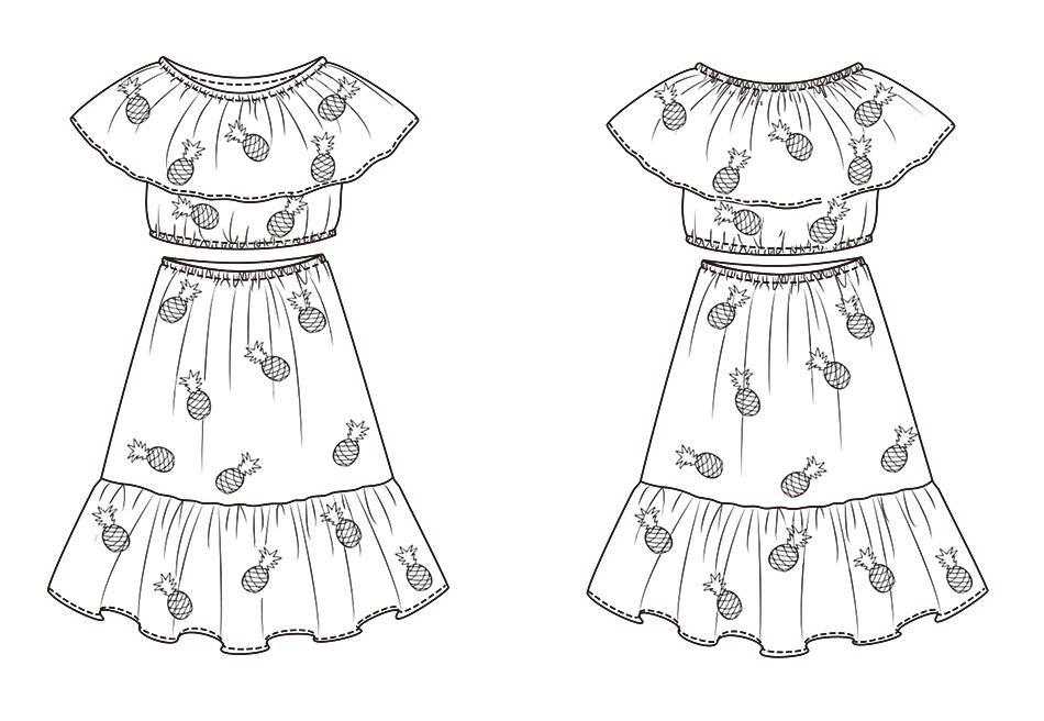 UTB85QMxcNHEXKJk43Jeq6yeeXXa8 - 2 PCS/Set Summer Baby Girls Clothing Set Pineapple Print Off Shoulder Top+Skirt Ruffle Girls Dress Beach Sundress Robe Fille